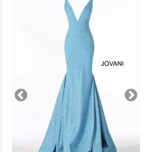 Jovani jade fitted plunging neckline prom dress